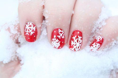 Paznokcie X Mas Czerwony Białe śnieżynki Na Wzorki Na Paznokcie