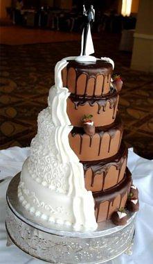 Biało - czarny tort weselny