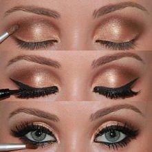 brązowy, błyszczący makijaż, pięknie!