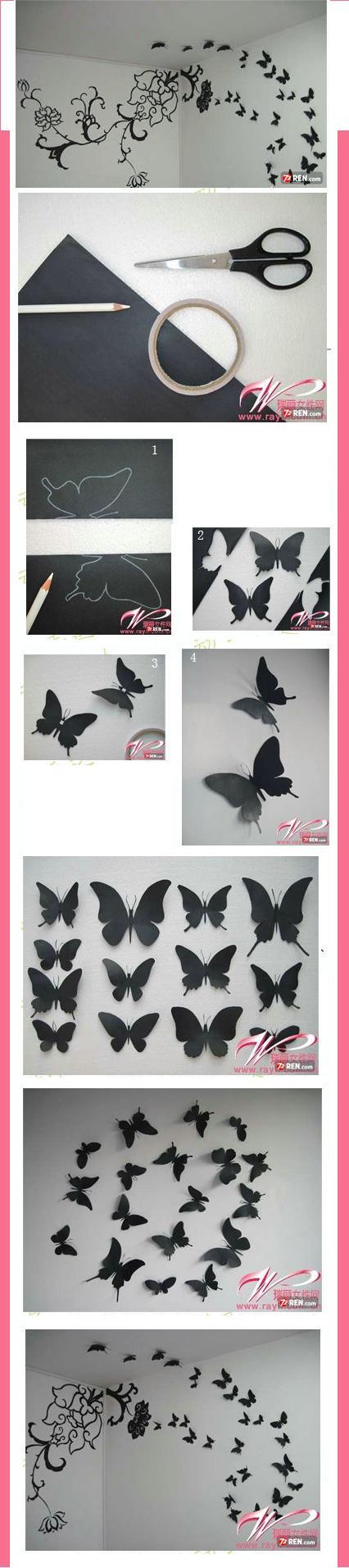 papierowe motylki na ścianę