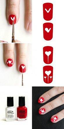 jak namalować serce- paznokcie