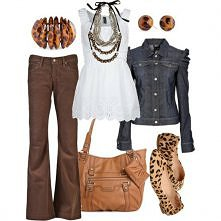 brown + jean jacket