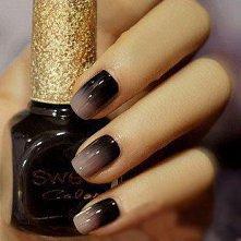 czarno szare paznokcie