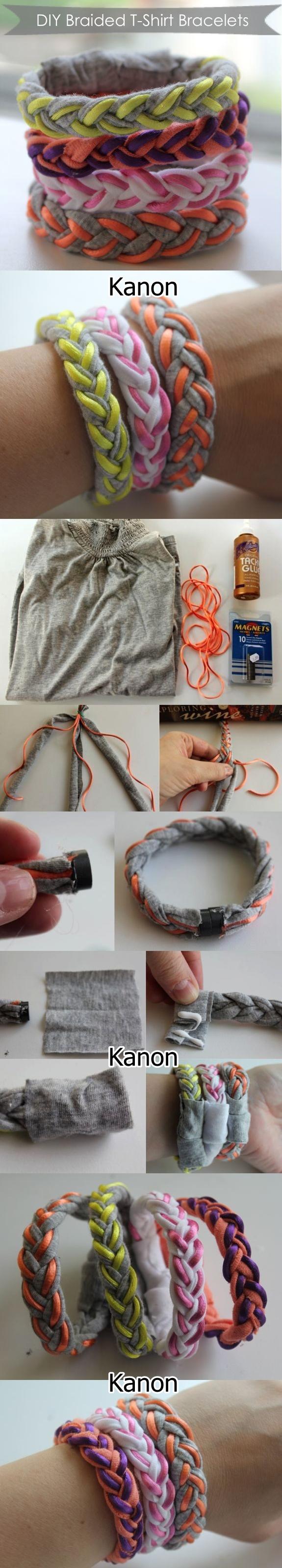 bransoletki z materiałów po starej bluzce..