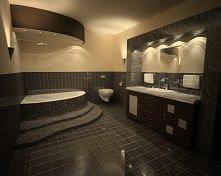 Kremowo-czarna łazienka