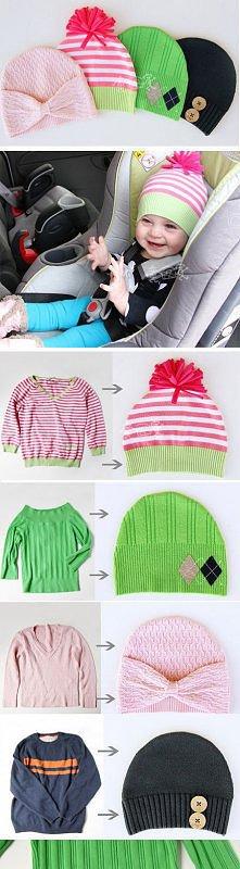 Czapki ze swetra