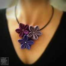naszyjnik - kwiaty filc