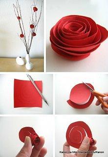 róże z papieru na drzewku