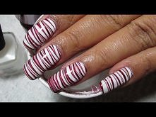 Candy Cane Water Marble Nail Art Tutorial