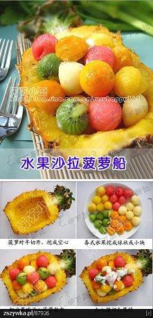 Owocowe kulki w ananasie