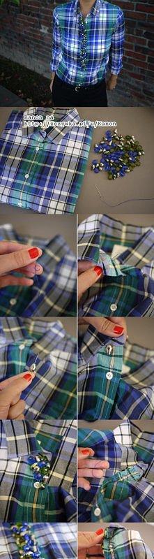 DIY, handmade, pomysły. Jak ciekawie ozdobić koszulę;)