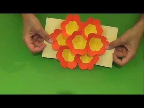Origami 3d flower pop up card flowers healthy tarjeta pop up flores 3d 3d flowers pop up card eng sub mightylinksfo