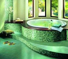 Zielono-brązowa łazienka