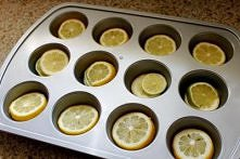 Frozen lemon ice cubes