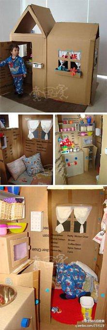 domek dla dziecka z kartonów