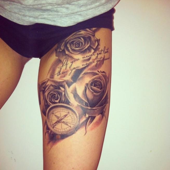 Róże Kompas Na Tattoo Zszywkapl