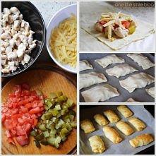 ciasto francuskie, ogorek, pomidor, kurczak