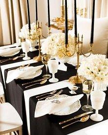 biało czarno złota dekoracj...