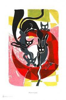 """""""Koty na księżycu"""" Franciszek Michałek. Wymiary 61,0 x 91,5 cm."""