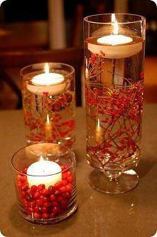 Pływające świeczki z jarzębiną