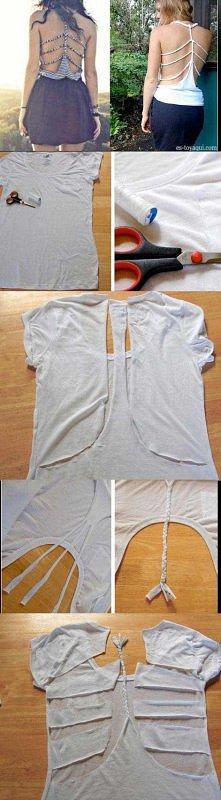 Bez szycia można przerobić zwykłą koszulkę na modną bluzkę