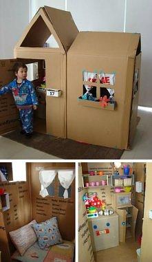 Domek z kartonów dla dziecka