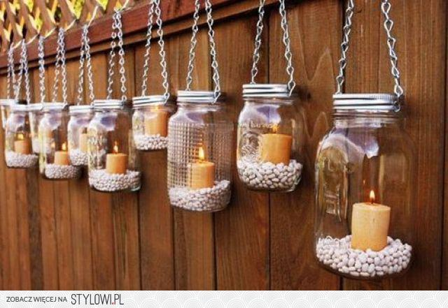 dekoracja ze słoików i świeczek