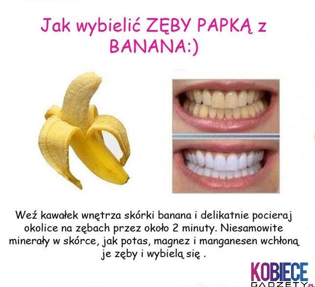 Wybielanie zębów, banan.