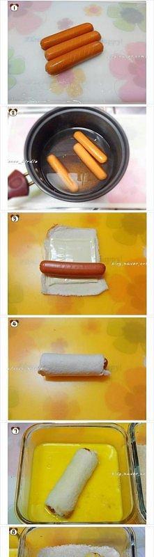 Hot-Dog: parówka, rozwałkowana kromka chleba tostowego, ser, jajko, bułka tarta.