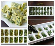 Świeże zioła mrożone w oliwie lub klarowanym maśle