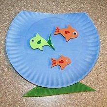 inspiracja na długie wieczory dla dzieci - akwarium z papierowego talerzyka