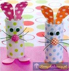 Wielkanocne zajączki z rolek po papierze