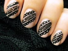 Easy Black Lace Nails