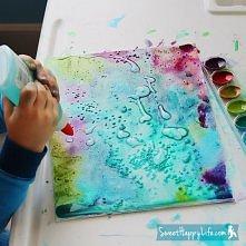 malowanie z użyciem soli i kleju