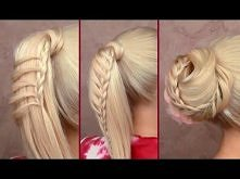 Cute back to school hairstyles tutorial Braided ponytail Easy top knot updo for long hair 2012