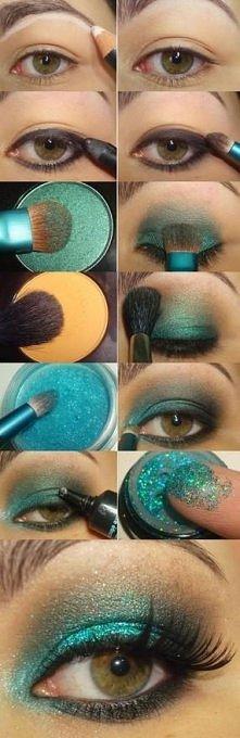 Turkusowy makijaż
