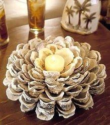 świecznik z muszli omułków