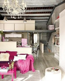 Rustic, modern, elegance, with pops of magenta/pink.
