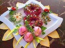 Tulipany z jajek na twardo