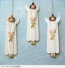 Anioły z patyczków po lodach