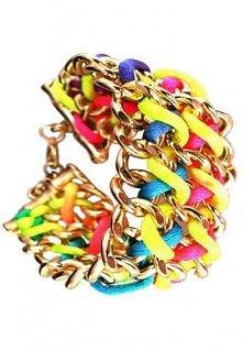 Kolorowa bransoleta - złote łańcuchy