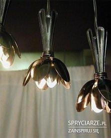 lampy z łyżek - jak kwiaty