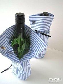 opakowanie na wino z rękawa koszuli