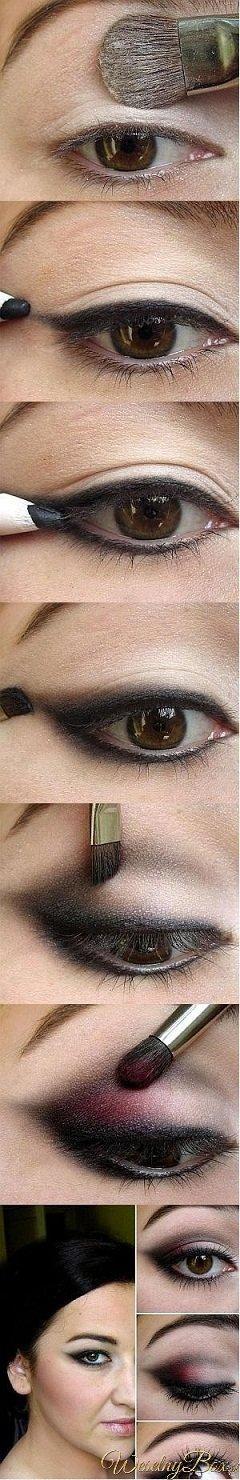 Krok po kroku makijaż z burgundem