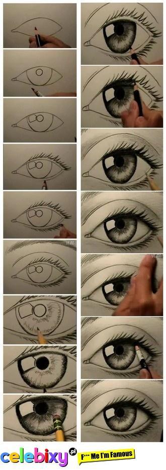 I znowu oczkoo ;P Do narysowania tego oczka polecam kredkę nero lub ołówek 8B