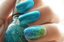 paznokcie, ombre paznokcie, niebieskie