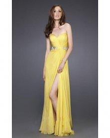 Liebsten Narzisse Chiffon Pinsel Schleppe Prom Kleidung Abendkleidung