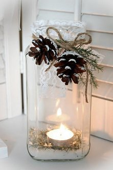 MASON JAR WITH CANDLE INSIDE. GREENERY, PINECONES AND TWINE TIED ON. GREAT DO...