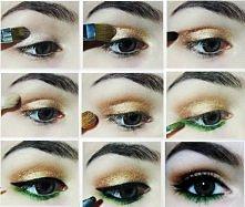 Makijaż złoto-zielony krok po kroku. 1. Nakładamy bazę ze złotymi drobinkami. 2. Złoty cień na całą ruchomą powiekę. 3. W zew. kąciku oka brązowy cień ze złotymi drobinkami. 4. ...