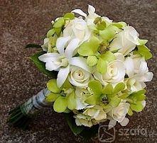 Kremowo-zielony bukiet ślubny